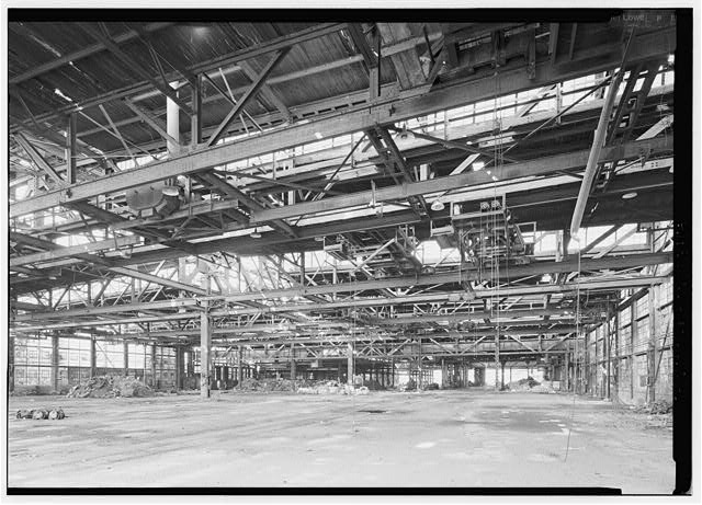 Eastern end of interior of girder shop, looking SW. - Phoenix Iron Company, Girder Shop No. 6, North of French Creek, west of Gay Street, Phoenixville, Chester County, PA