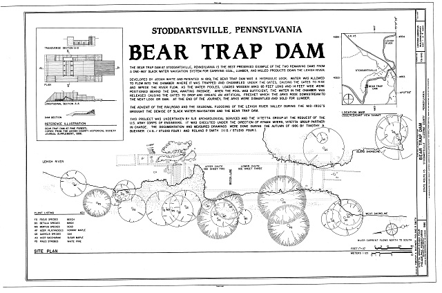 Cover Sheet and Site Plan - Bear Trap Dam, State Route 115, Stoddartsville, Luzerne County, PA