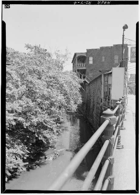 4.  Rear of Charles St. commercial block, showing proximity of canal to buildings. - Blackstone Canal, Charles & Randall Streets, Canal & Haymarket Streets, Providence, Providence County, RI