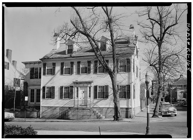 1.  Historic American Buildings Survey, Laurence E. Tilley, Photographer April, 1958 SOUTH (FRONT) ELEVATION SHOWING EAST END AND PART OF WEST WING. - Seth Adams House, 26 Benevolent Street, Providence, Providence County, RI