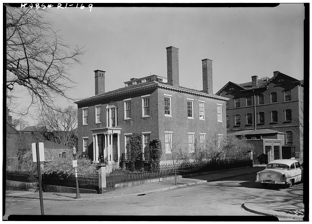 1.  Historic American Buildings Survey, Laurence E. Tilley, Photographer April, 1958 SOUTH (FRONT) AND EAST ELEVATIONS. - Candace Allen House, 12 Benevolent Street, Providence, Providence County, RI