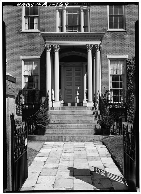 2.  Historic American Buildings Survey, Laurence E. Tilley, Photographer April, 1958 MAIN ENTRANCE PORCH ON SOUTH (FRONT). - Candace Allen House, 12 Benevolent Street, Providence, Providence County, RI