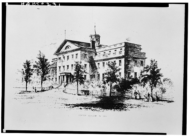 2.  Historic American Buildings Survey, PHOTO-COPY OF ENGRAVING BY JOHN ANDREWS, SHOWING DEXTER ASYLUM IN 1869. - Dexter Asylum, Hope Street & Lloyd Avenue, Providence, Providence County, RI