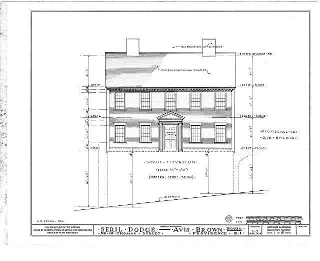 HABS RI,4-PROV,13- (sheet 1 of 15) - Seril Dodge House, 10 Thomas Street, Providence, Providence County, RI
