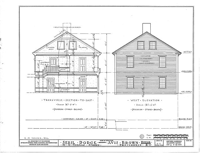 HABS RI,4-PROV,13- (sheet 2 of 15) - Seril Dodge House, 10 Thomas Street, Providence, Providence County, RI