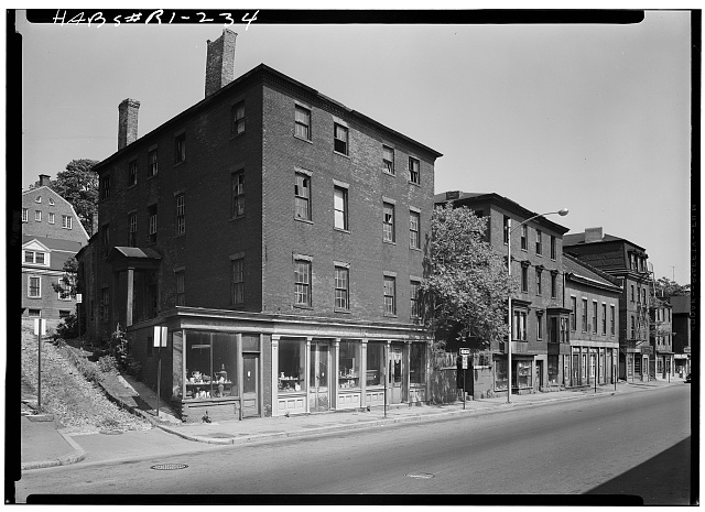 1.  Historic American Buildings Survey, WEST (FRONT) AND NORTH ELEVATIONS, SHOWING THE RICHMOND BULLOCK HOUSE, 288-292 SOUTH MAIN STREET, AND THE PIONEER FIRE COMPANY BUILDING, 296-302 SOUTH MAIN STREET, TO THE RIGHT. - William Harding House, 278-282 South Main Street, Providence, Providence County, RI