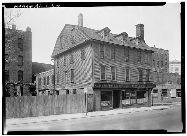 1.  Historic American Buildings Survey, Laurence E. Tilley, Photographer April, 1958 EAST (FRONT) AND SOUTH ELEVATIONS. - Kilton-Wilkinson House, 201 South Main Street, Providence, Providence County, RI