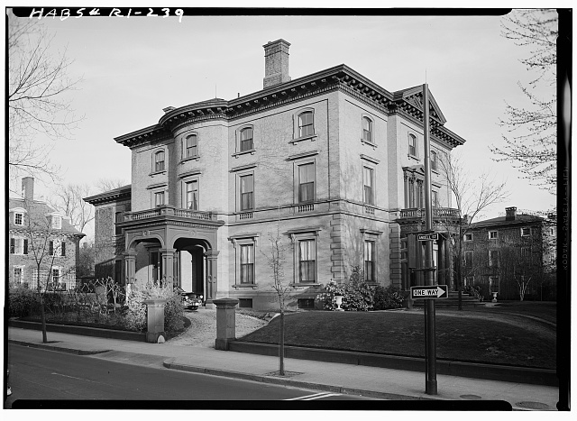 1.  Historic American Buildings Survey, Laurence E. Tilley, Photographer April, 1958 WEST (FRONT) AND NORTH ELEVATION. - Governor Henry Lippitt House, 199 Hope Street, Providence, Providence County, RI