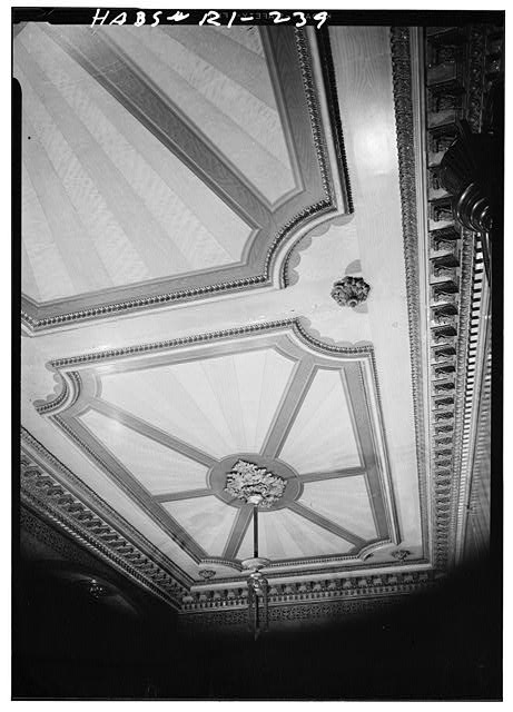 10.  Historic American Buildings Survey, Laurence E. Tilley, Photographer April, 1958 CEILING IN FIRST FLOOR HALL. - Governor Henry Lippitt House, 199 Hope Street, Providence, Providence County, RI