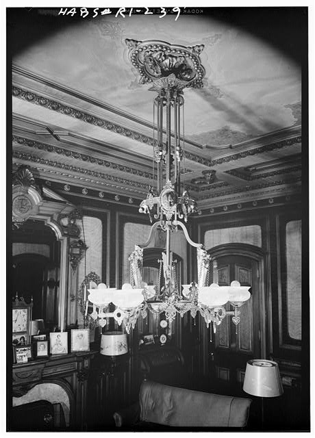 12.  Historic American Buildings Survey, Laurence E. Tilley, Photographer April, 1958 CHANDELIER IN BILLIARD ROOM. - Governor Henry Lippitt House, 199 Hope Street, Providence, Providence County, RI