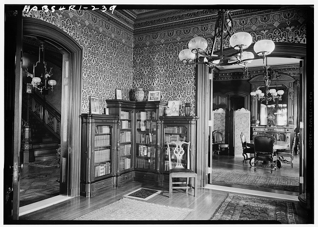 19.  Historic American Buildings Survey, Laurence E. Tilley, Photographer April, 1958 LIBRARY SHOWING DOORWAYS TO HALL AND DINING ROOM. - Governor Henry Lippitt House, 199 Hope Street, Providence, Providence County, RI
