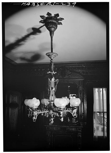 27.  Historic American Buildings Survey, Laurence E. Tilley, Photographer April, 1958 CHANDELIER IN DINING ROOM. - Governor Henry Lippitt House, 199 Hope Street, Providence, Providence County, RI