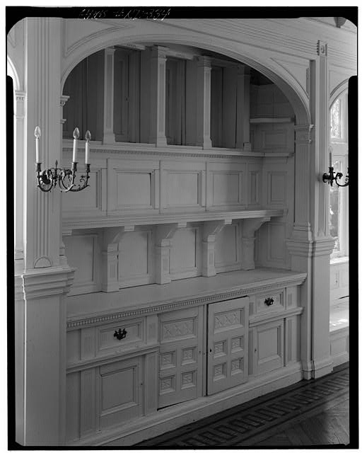 4.  Historic American Buildings Survey, Cervin Robinson, Photographer July 24, 1970 VIEW OF MAIN PARLOR BUFFET. - Charles H. Baldwin House, Bellevue Avenue, Newport, Newport County, RI