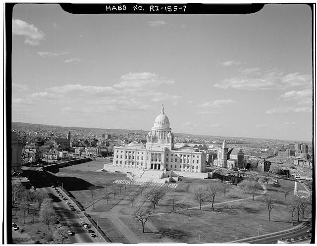 7.  AERIAL VIEW OF SOUTH ELEVATION AND GROUNDS - Rhode Island State House, 90 Smith Street, Providence, Providence County, RI