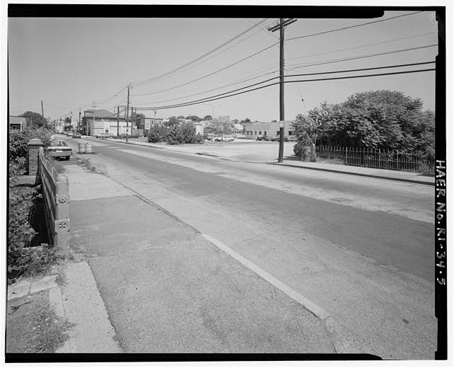 5.  OVERALL VIEW LOOKING NORTHEAST SHOWING CHARLES STREET AND BRIDGE SIDEWALK RAILINGS - Charles Street Bridge, Spanning West River on Charles Street, Providence, Providence County, RI