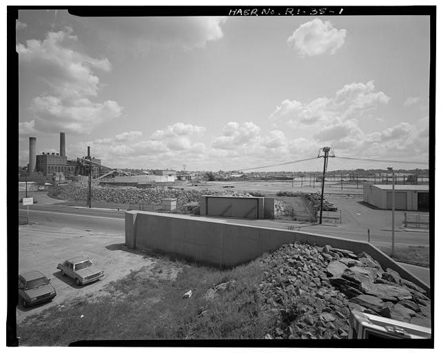 1.  Station and coal yards, looking northeast from across Allens Avenue. - Manchester Street Generating Station, 460 Eddy Street, Providence, Providence County, RI