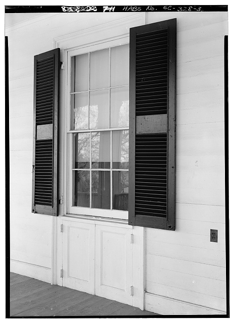 3.  SOUTH FRONT, DETAIL OF WINDOW WITH HINGED PANEL BELOW - Ashtabula, State Route 88, Pendleton, Anderson County, SC