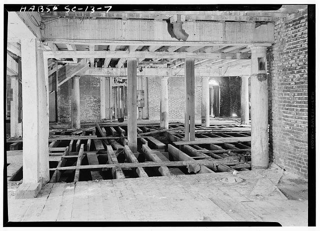 12.  Historic American Buildings Survey, Louis Schwartz, Photographer May, 1958 INTERIOR, FIRST FLOOR. - Bennett's Rice Mill, Between East Bay, Hasell, Concord & Laurens Streets, Charleston, Charleston County, SC