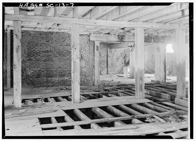 13.  Historic American Buildings Survey, Louis Schwartz, Photographer May, 1958 INTERIOR, FIRST FLOOR. - Bennett's Rice Mill, Between East Bay, Hasell, Concord & Laurens Streets, Charleston, Charleston County, SC