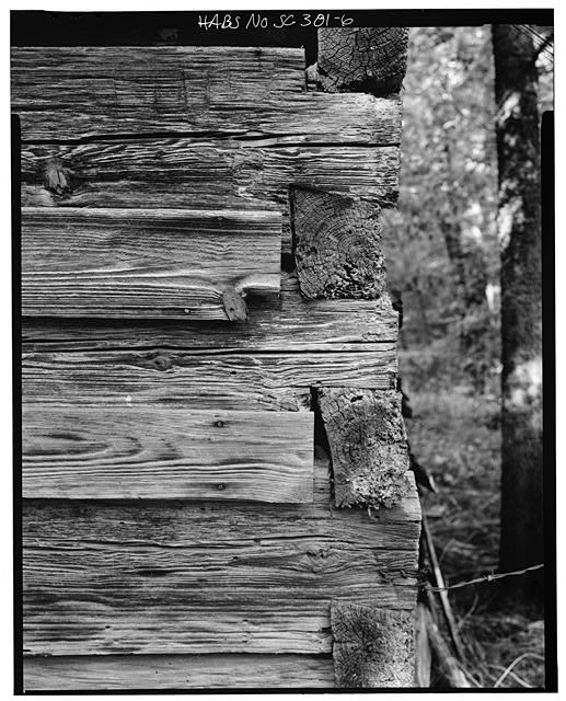 6.  Southwest corner, detail of notching, elevation - Featherstone Tenant Farm, County Road 81, Lowndesville, Abbeville County, SC