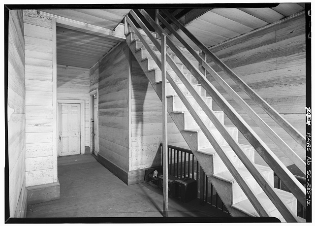 12.  INTERIOR, SECOND FLOOR, HALL, DETAIL OF STAIR TO ATTIC - Woodburn, Woodburn Road, U.S. Route 76 vicinity, Pendleton, Anderson County, SC