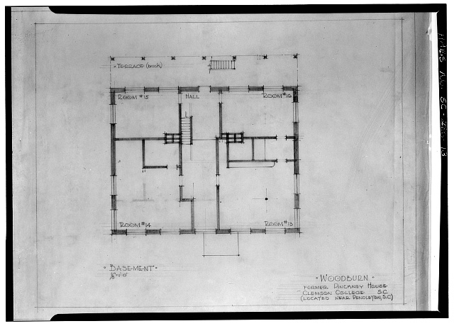 13.  Photocopy of measured drawing (source unknown) 1945?, delineator unknown BASEMENT PLAN - Woodburn, Woodburn Road, U.S. Route 76 vicinity, Pendleton, Anderson County, SC