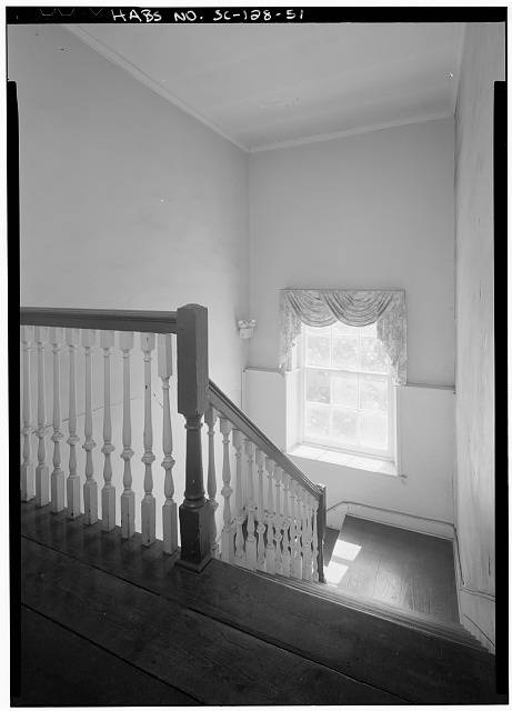 51.  INTERIOR VIEW OF EAST TENEMENT STAIR, SECOND FLOOR, LOOKING EAST - Daniel Blake Tenement, 6-8 (2-4) Courthouse Square, Charleston, Charleston County, SC