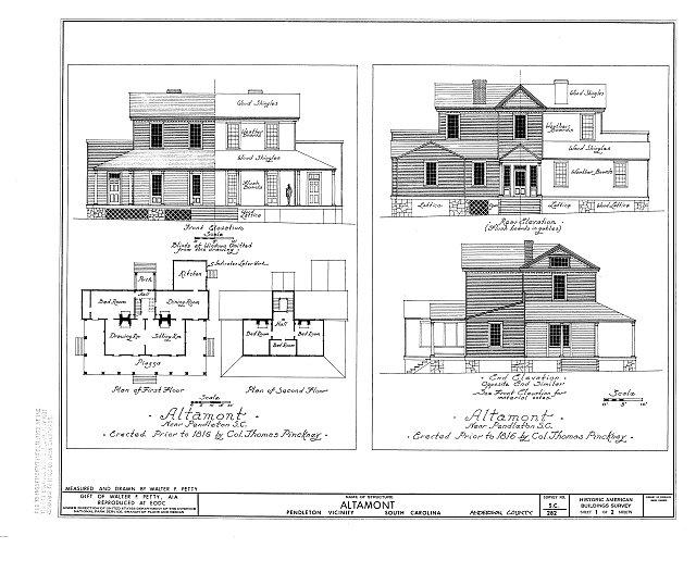 HABS SC,4-PEND.V,3- (sheet 1 of 2) - Altamont, Pendleton, Anderson County, SC
