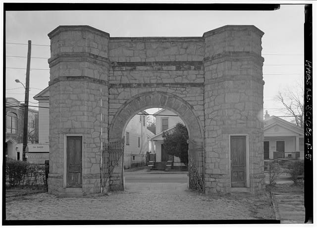 5.  VIEW FROM INSIDE OF GATES FROM EAST, WITH SCALE - William Enston Home, Entrance Gate, 900 King Street, Charleston, Charleston County, SC