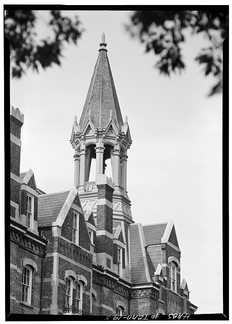 5.  Detail, tower from southwest - Fisk University, Jubilee Hall, Seventeenth Avenue, North, Nashville, Davidson County, TN