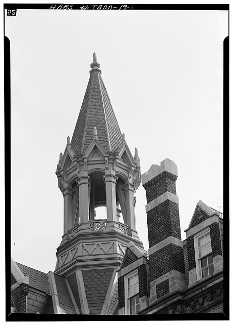 6.  Detail, tower from east - Fisk University, Jubilee Hall, Seventeenth Avenue, North, Nashville, Davidson County, TN