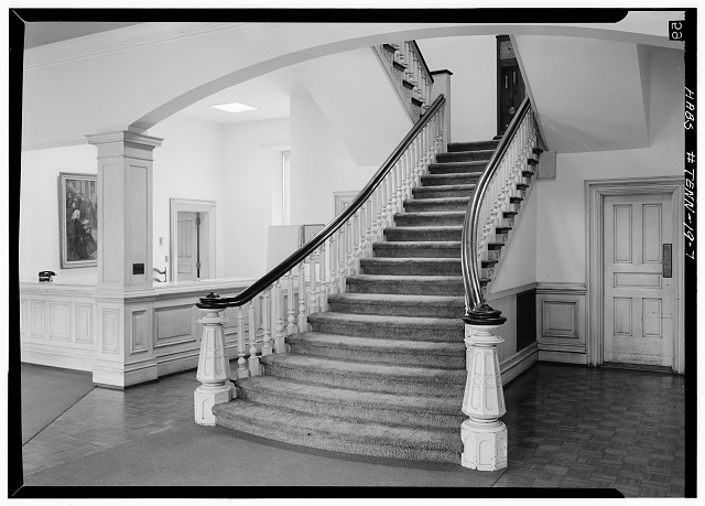 7.  Interior, first floor, main staircase - Fisk University, Jubilee Hall, Seventeenth Avenue, North, Nashville, Davidson County, TN