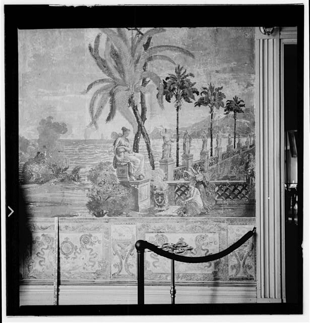 10.  Historic American Buildings Survey, W. Jeter Eason- Deputy District Officer, Photographer November 12, 1936 WALL PAINTINGS ON WEST WALL OF ENTRANCE HALL- SECTION BETWEEN FRONT WALL AND DOOR TO FRONT PARLOR. - The Hermitage, U.S. Highway 70 North (4580 Rachel's Lane), Nashville, Davidson County, TN