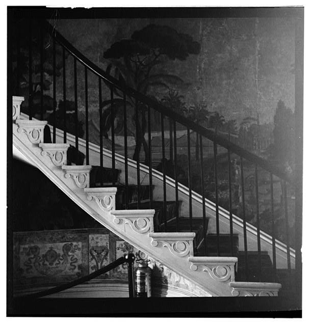 15.  Historic American Buildings Survey, W. Jeter Eason- Deputy District Officer, Photographer November 12, 1936 WALL PAINTINGS ON EAST WALL OF ENTRANCE HALL- CURVED SECTION BETWEEN DOOR TO REAR PORTICO AND DOOR TO PASSAGE. - The Hermitage, U.S. Highway 70 North (4580 Rachel's Lane), Nashville, Davidson County, TN
