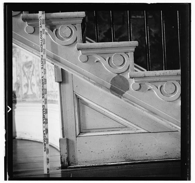 20.  Historic American Buildings Survey, W. Jeter Eason- Deputy District Officer, Photographer November 21, 1936 DETAIL OF TRIANGULAR PANELING UNDER STAIR. - The Hermitage, U.S. Highway 70 North (4580 Rachel's Lane), Nashville, Davidson County, TN