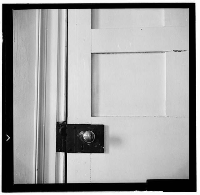 31.  Historic American Buildings Survey, W. Jeter Eason- Deputy District Officer, Photographer November 21, 1936 HARDWARE ON DOOR BETWEEN DINING ROOM AND HALL. - The Hermitage, U.S. Highway 70 North (4580 Rachel's Lane), Nashville, Davidson County, TN