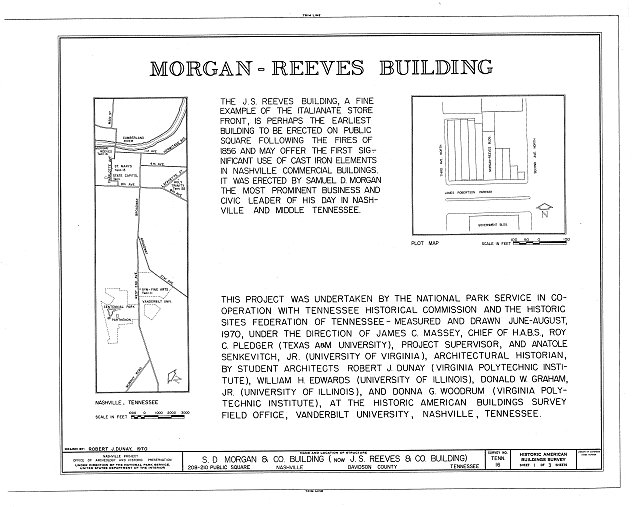 HABS TENN,19-NASH,9- (sheet 1 of 3) - Morgan-Reeves Building, 208-210 Public Square, Nashville, Davidson County, TN