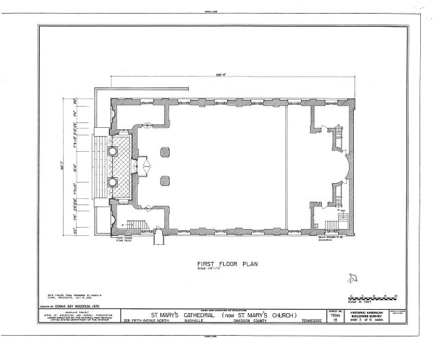 HABS TENN,19-NASH,8- (sheet 3 of 6) - St. Mary's Cathedral, 328 Fifth Avenue, North, Nashville, Davidson County, TN