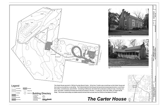 The Carter House - The Landscapes of the Battlefield of Franklin, Tennessee, The Carter House, 1140 Columbia Avenue, Franklin, Williamson County, TN