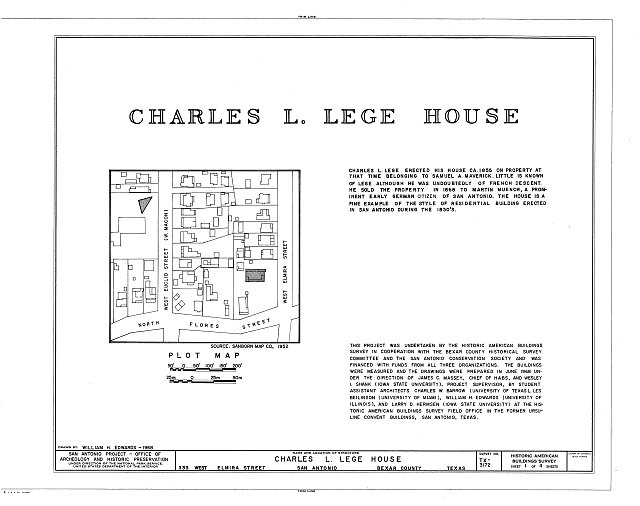 HABS TEX,15-SANT,40- (sheet 1 of 4) - Charles L. Lege House, 533 West Elmira Street, San Antonio, Bexar County, TX