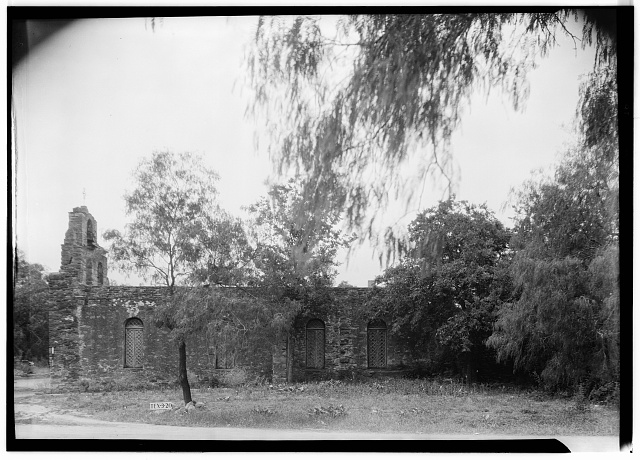 5.  Historic American Buildings Survey, Arthur W. Stewart, Photographer, April 16, 1936 NORTH ELEVATION OF CHAPEL (SIDE). - Mission San Francisco de la Espada, Berg's Mill Community, San Antonio, Bexar County, TX