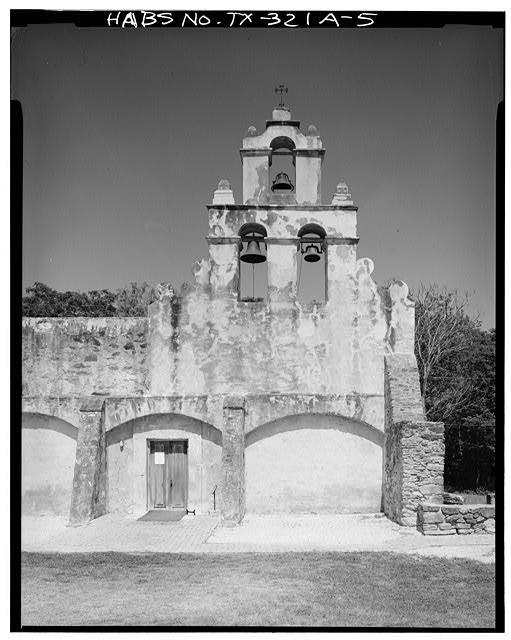 5.  BELL GABLE ON NORTH END OF EAST ELEVATION - Mission San Juan de Capistrano, Chapel, Berg's Mill-Graf Road, San Antonio, Bexar County, TX