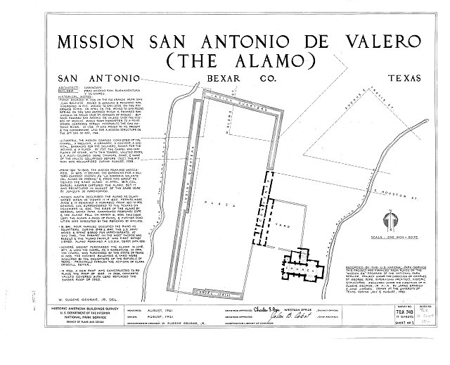 HABS TEX,15-SANT,15- (sheet 1 of 17) - Mission San Antonio de Valero, Alamo Plaza, San Antonio, Bexar County, TX