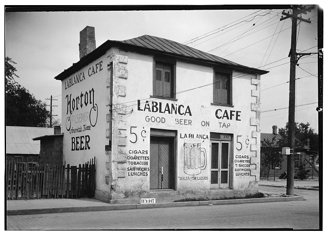 1.  Historic American Buildings Survey, Arthur W. Stewart, Photographer April 6, 1936 NORTHWEST ELEVATION (WEST FRONT AND NORTH SIDE). - Jose Antonio Navarro Store, 232 South Laredo Street, San Antonio, Bexar County, TX