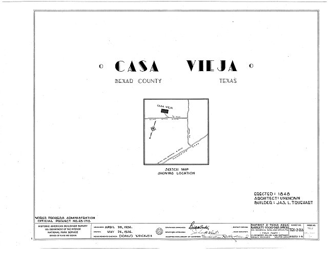 HABS TEX,15-____,1- (sheet 0 of 5) - Casa Vieja, Blue Wing Road, San Antonio, Bexar County, TX