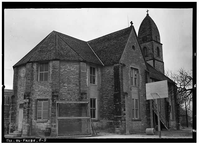 5.  Historic American Buildings Survey, Emil Niggli, Photographer January 17, 1934 VIEW FROM NORTH. - Old St. Mary's Catholic Church, San Antonio Street, Fredericksburg, Gillespie County, TX