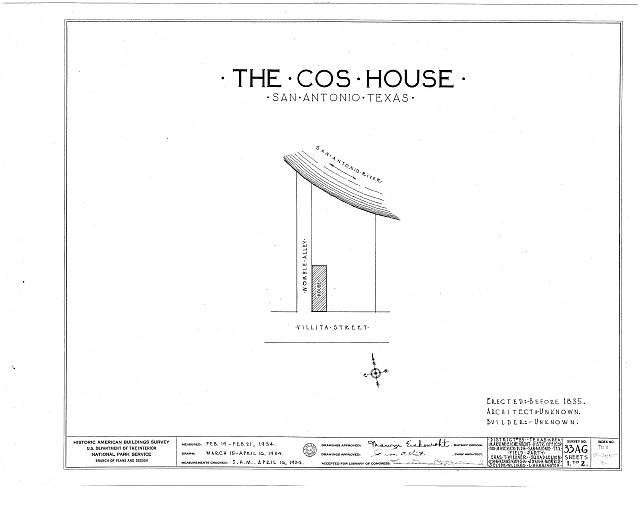 HABS TEX,15-SANT,4- (sheet 0 of 2) - Cos House, 513 Paseo de la Villita, San Antonio, Bexar County, TX