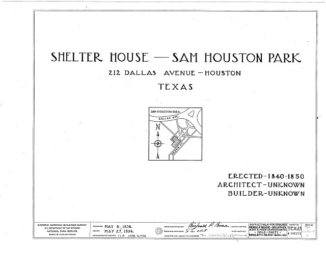 HABS TEX,101-HOUT,4- (sheet 0 of 4) - Kellum-Noble House, Sam Houston Park, 212 Dallas Avenue, Houston, Harris County, TX