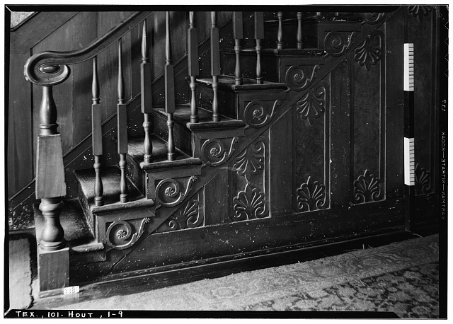 9.  Historic American Buildings Survey, Harry L. Starnes, Photographer April 10, 1936 STAIR DETAIL. - Nichols-Rice-Cherry House, Sam Houston Park (moved from San Jacinto Street), Houston, Harris County, TX