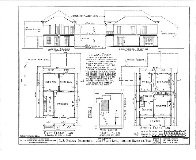HABS TEX,101-HOUT,1- (sheet 1 of 4) - Nichols-Rice-Cherry House, Sam Houston Park (moved from San Jacinto Street), Houston, Harris County, TX